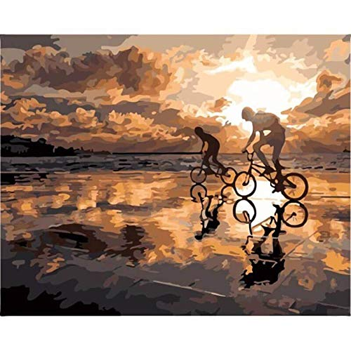 5D diy pintura diamante,5d Diamond Painting Rhinestone para Adultos,Atardecer, chico, bicicleta,bordado de punto de cruz,manualidades para decoración de pared,30x40cm
