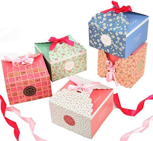 Geschenkbox 15 Stück Geschenkschachtel in 5 Farbe für Kekse, Süßigkeiten, Kuchen, babies Geschenk-Box dekorativen Kästchen für Weihnachten Geburtstage Hochzeiten Urlaub Babyparty
