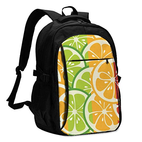 XCNGG Rayas con limón Mochila para portátil de Viaje Mochila Escolar universitaria Mochila Informal con Puerto de Carga USB