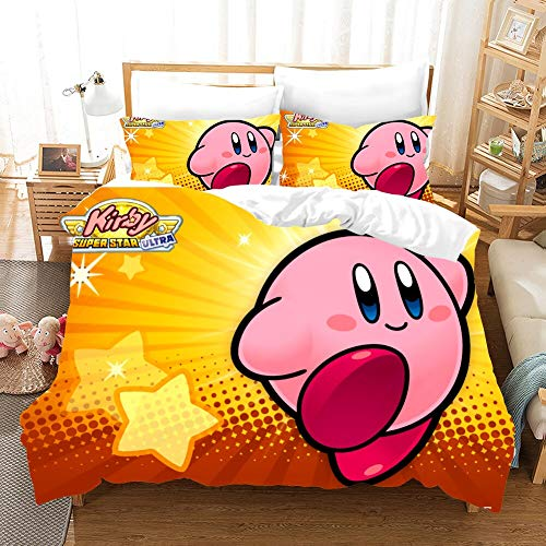 Kirby Cartoon Game 3D Bedding Set Duvet Covers Pillowcases Cute Pink Ball Anime Comforter Bedding Sets Bedclothes Bed Linen (1,135x200cm)