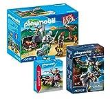 Playmobil Ritter 3-teiliges Set: 70036 Ritter Starter-Set + 70229 Novelmore Armbrustschütze mit...
