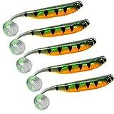 Señuelos De Pesca De Plástico Blando Realista 3D Señuelo Paddle Tail Swimbaits Pesca De Los Flotadores Los Artes De Pesca De 9 Cm Diseño-A 5 X