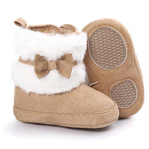 Baby Boots, Womail Winter Warm Infant Newborn Snow Boots Crib Shoes Prewalker Boy Girl (12 cm for 6~12 months, Khaki)