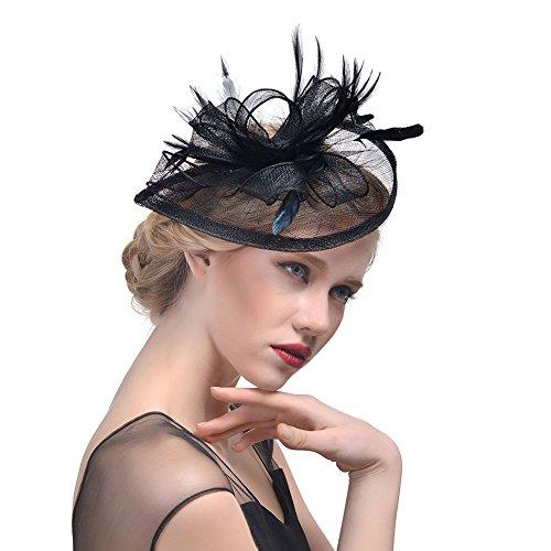 StageOnline Donne Cappelli Cerimonia Piuma Fiore Partito Matrimonio Decorazione Cappello per Partito Matrimonio