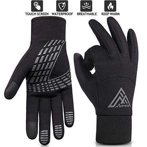 MOVTOTOP Running Gloves for Men & Women, Touch Screen Winter Gloves Warm, Water-Resistant Gloves, Perfect Anti-Slip Gloves for Cycling, Driving, Hiking & Other Outdoor Sports