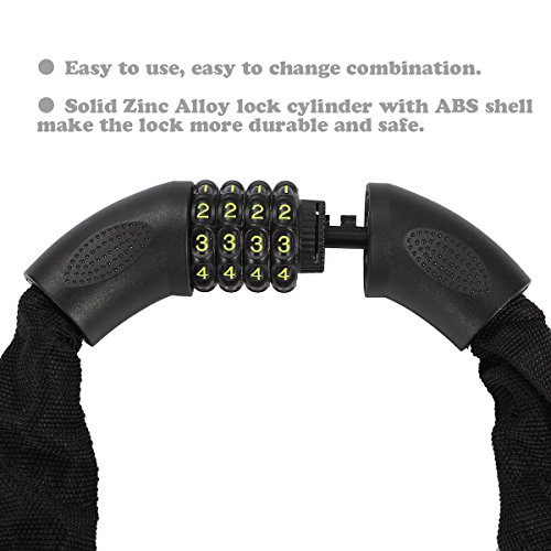 Amazer Bike Lock, Bike Chain Lock with Resettable Combination Security Anti-theft Bicycle Chain Lock Bike Locks for Bike, Motorcycle, Bicycle, Door, Gate, Fence, Grill