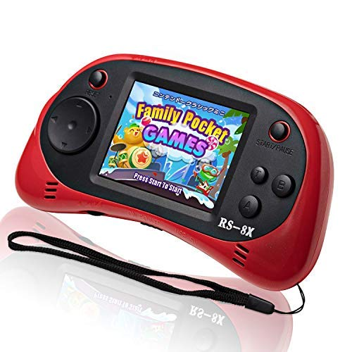 LIVKIDS Kids Portable Game Player, RS-8X Retro 16 Bit HD Handheld Game Built-in 42 Classic Games 2.5 Inch Game Console (Red)