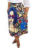 Women's Chiffon Long Maxi Skirt - Vintage Pleated Elastic High Waist Summer Beach Skirts Colorful