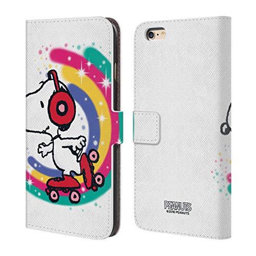 Head Case Designs Licenza Ufficiale Peanuts Skating Colorato Snoopy Passeggiata Aerografata Cover in Pelle a Portafoglio Compatibile con Apple iPhone 6 Plus/iPhone 6s Plus
