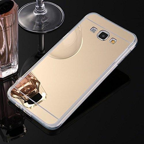 Sycode Coque Galaxy A5 2015,Galaxy A5 2015 Silicone Housse,Ultra Mince Doux Coque en Effet Miroir pour Samsung Galaxy A5 2015-Or