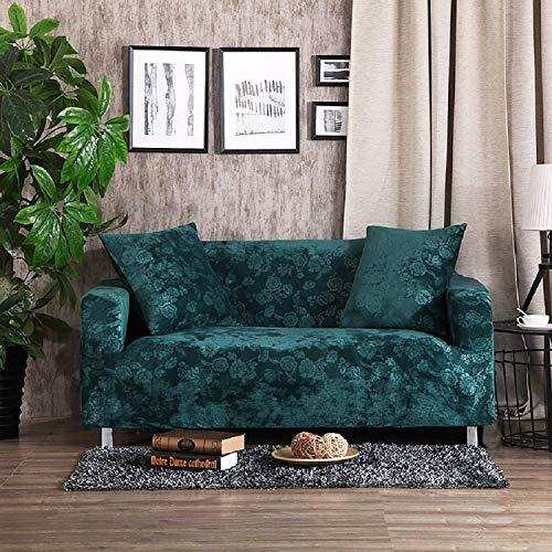 KELUINA Samt-Plüsch-Form-Sitz-Ausdehnungs-Kasten-Kissen-Sofabezug, Weicher Rutschfester Möbel-Schutz, 1 Stück Spandex-prägender Blumen-Couch-Sofabezug (Teal Green,90-140cm(35-55in))