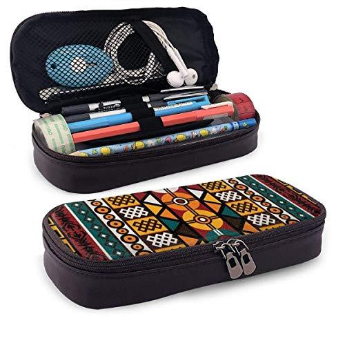 XCNGG Estuche para lápices de cuero de PU Kente, estuche para bolígrafos con cremallera, útiles escolares para estudiantes, monedero, bolsa de maquillaje cosmético