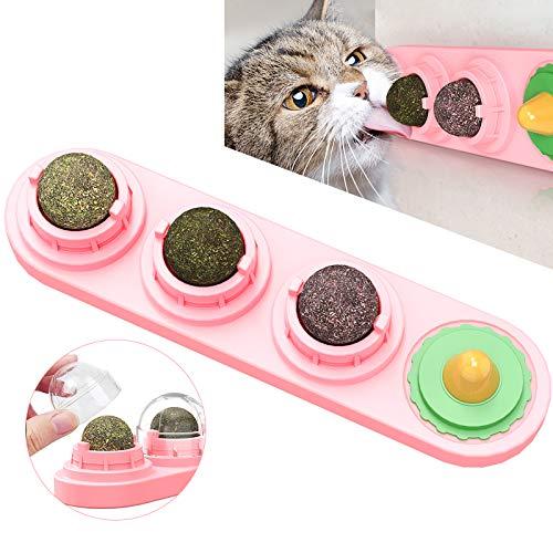 Katzenminze Bälle Katzen Lecken Spielzeug Natürliche Essbare Katzenminze Snacks Drehbare Leckereien Behandelt Spielzeug Aufklebbare Wand Katzenminze Ball Spielzeug für Haustiere