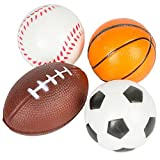 ArtCreativity Sports Stress Foam Balls for Kids - Set of 4 - Includes Basketball, Football, Baseball, and Soccer Squeezable Anxiety Relief Balls Idea, Party Favor for Boys or Girls