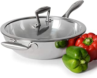 ProCook Elite Tri-Ply - Grand Wok Compatible Induction - 28cm - Inox Triple Couche 18 10 - Couvercle Verre Trempé - Manche...