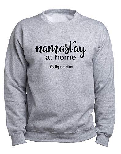 EUGINE DREAM Yoga Namaste Stay At Home CoronaVirus Sweater Unisex Sudadera Gris 4XL