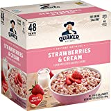 Good Source of Fiber: Quaker Oats provide a good source of fiber to support a healthy digestive system; See nutrition facts for total fat per serving Made with 100 percent Whole Grains Includes 48 packets Strawberries and Cream flavor Heart Healthy W...