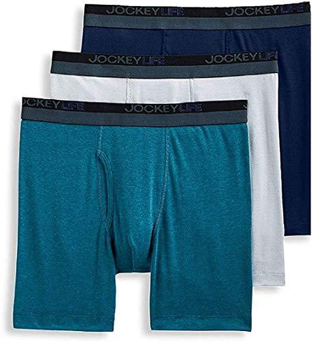 Jockey Life Men's 3-Pack 24/7 Comfort Cotton Blend Long-Leg Boxer Briefs - Assorted (S)