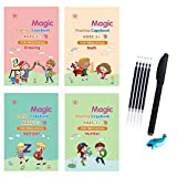 4 PCS English Magic Practice Copybook for Kids, Reusable Writing Practice Book Set, The Print Handwiriting Workbook, Calligraphy Tracing Book - Drawing Math Alphabet Numbers with Pen