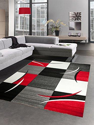 CARPETIA Désigner Tapis Karo Rouge Gris Blanc Noir (120x170 cm)