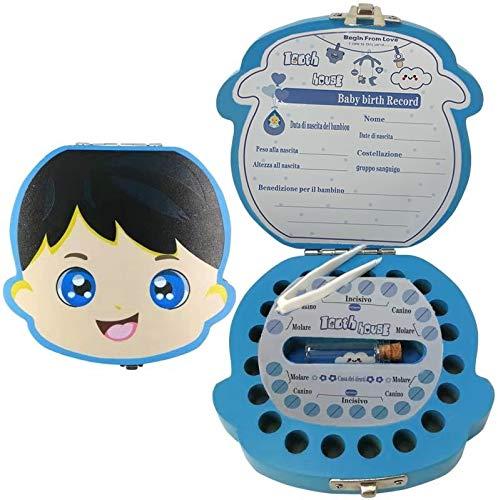 Denti Salva Box per Bambini , DEAROPE Scatola Porta Dentini da Latte, Bambini in legno Ricordo regalo, Accumulazione dei denti (Ragazzo Italiana) (Ragazzo Italiana)