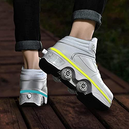 XRDSHY Patín De Ruedas Ajustable con Luces LED Zapatos con Ruedas para Niñas, Mujeres, Principiantes, Regalo Zapatos Deportivos De Deformación,White-EU33/22cm
