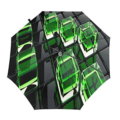 Diseño automático ligero compacto portátil del paraguas del viaje cuadrado verde y alta resistencia del viento