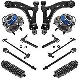 12 Piece Steering & Suspension Kit Wheel Bearings Control Arms Tie Rods End Link...