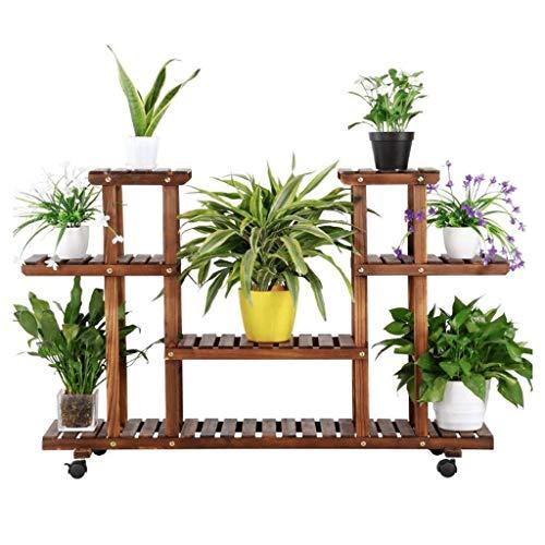Support à fleurs en bois à 4 couches Présentoir de plantes / étagère de rangement Cadre à cadres de cadre Support de plantes / Salon Balcon Terrasse Cour Extérieur-intérieur suffisamment grand 12 Pots