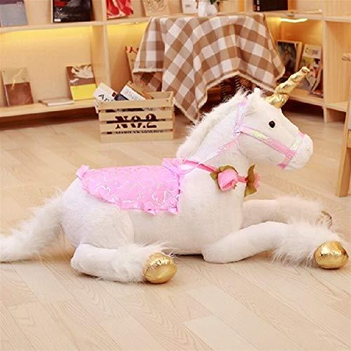 Xpccj Funda de cojín con diseño de unicornio de peluche grande de 100 cm, diseño de caballo de unicornio, juguete de dibujos animados, regalo para el día de los niños (color: blanco, altura: 100 cm)
