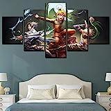 Cuadros Decoracion Salon 5 Piezas de Arte Marco,Moderno HD Obras de Arte y Material Decorativo Cuadro Usado para Sala Oficina Hogar5 Set Anime Naruto Tamaño Total: (H-80 cm x M/B-150 cm)