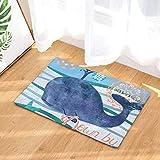 GjbCDWGLA Dunkelblauer Wal-Badematte Verschleißfeste Duschmatte Weicher, Rutschfester Badezimmerteppich Badteppich 50 × 80 cm