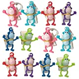 ArtCreativity Mini Monkey Paratroopers with Parachutes, Pack of 12, Vinyl Parachute Toys in Assorted Colors, Durable Plastic Guys Playset, Fun Zoo Animal Themed Party Favors for Boys and Girls