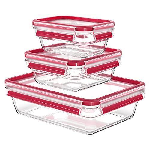 Emsa Clip&Close - Set 3 Herméticos de Cristal rectangular de polipropileno, higiénico, no retiene olores ni sabores 100% libre de BPA, apto para congelador y microondas, apto para lavavajillas