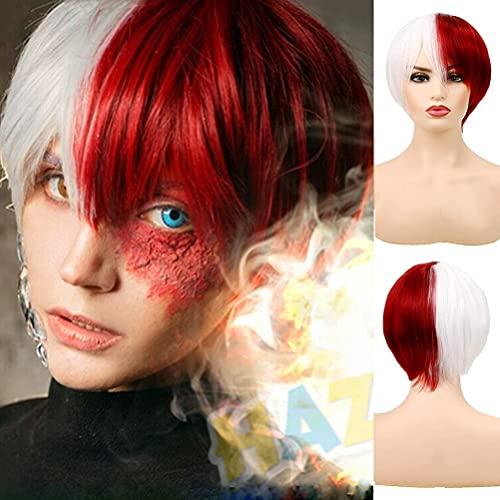 Pelucas cortas Cosplay Anime medio blanco medio rojo resistente al calor peluca sintética para Halloween disfraz fiesta