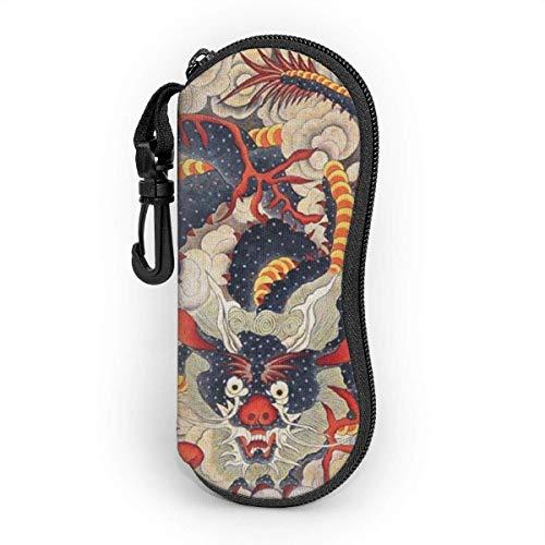 Gafas de sol Funda suave ultra ligera bolsa de protección portátil con clip de cinturón, arte popular chino dragón azul