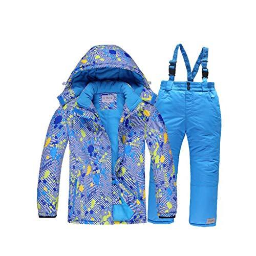 OH Traje de Esquí para Niños Traje de Nieve Cálido de Invierno Chaqueta de Esquí Cálido con Cierre de Cremallera Bolsillo Impermeable Resistente Al Viento Conjunto de Pantalón Y Chaqueta