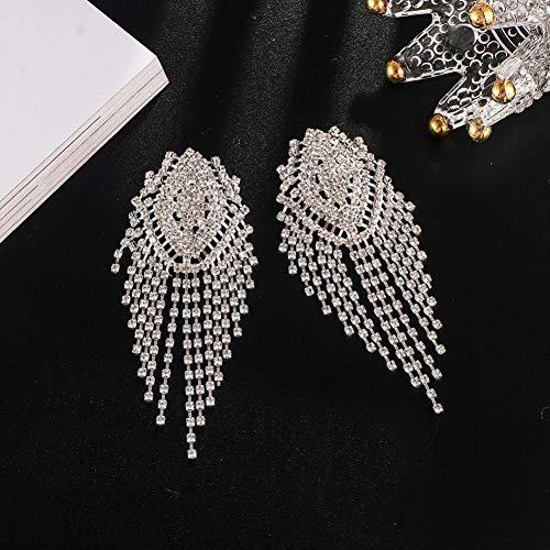 FGFDHJ Pendientes Pendientes Largos para Mujer Pendientes Colgantes de Cristal con Diamantes de imitación