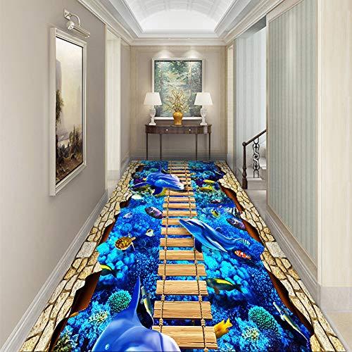 QSQ 3D Wasserwelt Teppiche, Läufer Matte aus Weichem Flanell für Flur Wohnzimmer Küche Schlafzimmer usw, Waschbar rutschfest,120x100CM