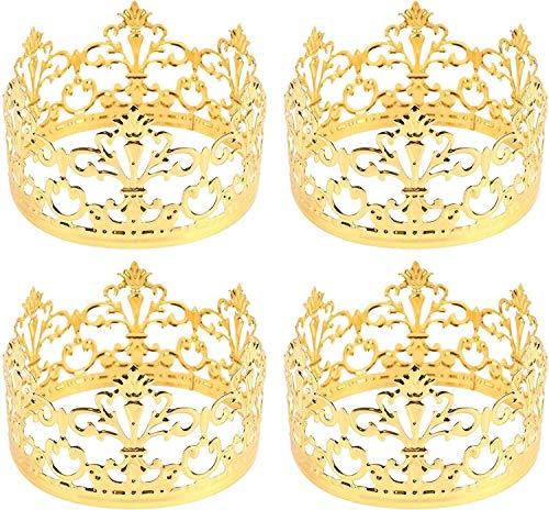 XIHEJD Crown Tiara, Krone Stirnband, Geburtstagsdekoration, Hochzeitskopfschmuck, 4 Pack Mini PrinRescess Gold Metall Crown Cake Topper (Gold)
