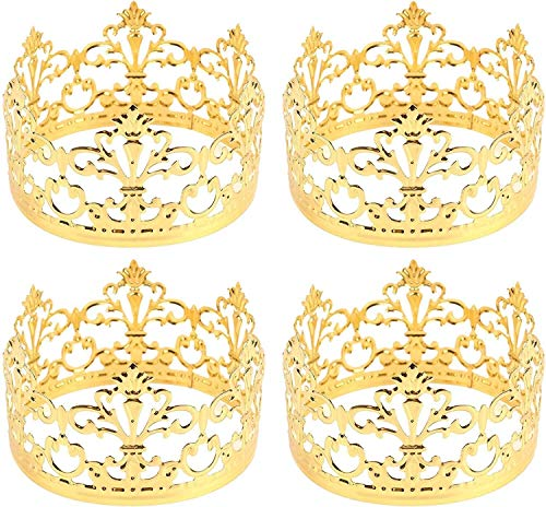 XIHEJD Crown Tiara, Krone Stirnband, Geburtstagsdekoration, Hochzeitskopfschmuck, 4 Pack Mini PrinRescess Gold Metall Crown Cake Topper (Gold)