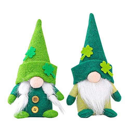 St. Patrick's Day Decorations Gnome Irish Leprechaun Tomte for March Saint Paddy's Day Gift Handmade Scandinavian Folklore Shamrock Elf Dwarf Home Household Kitchen Tiered Tray Decorations (2PC-A)