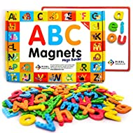 Pixel Premium Magnetic Letters for Kids - 142 ABC Alphabet Magnets for Preschool - Letter Magnets with White Magnetic Board - Educational Fridge Magnets for Kids Refrigerator or Classroom