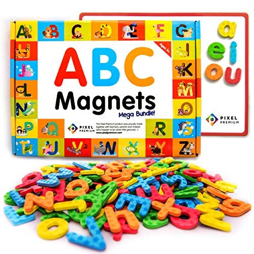 Pixel Premium Magnetic Letters for Kids - 142 ABC Alphabet Magnets for Preschool Toddlers - Letter Magnets with White Magnetic Board - Educational Fridge Magnets for Kids Refrigerator or Classroom