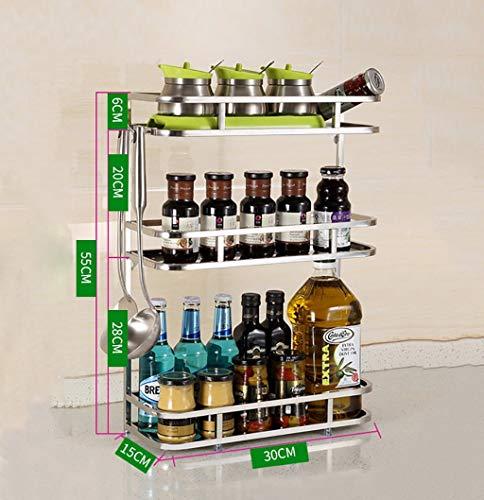 Unknow Estantes de Especias Elfo de Cocina Elfo de Acero Inoxidable Elfo de Almacenamiento en el Piso Elfo de condimento Estante de Cocina de Montaje en Pared (Color: 3#, Tamaño: 30 cm)