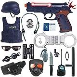 Mopoq 18個警察コスチュームキットのためにキッズ、コップ玩具セット - バッジ、手錠、双眼鏡のために警察の制服ロールプレイドレスアップ、ごっこ遊び、ハロウィーンドレスアップ、男の子と女の子のための学校プレイ