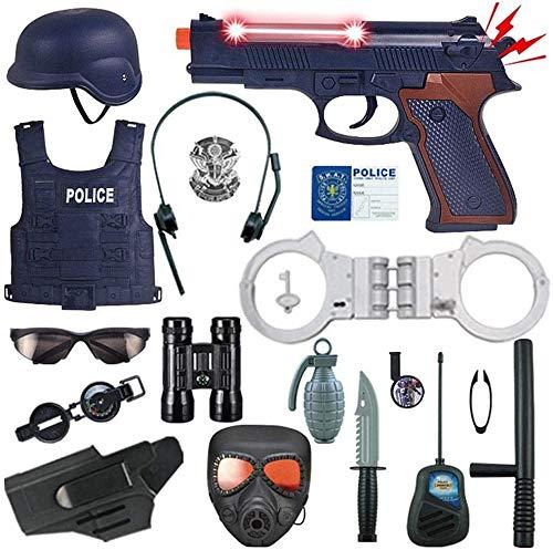 Mopoq 18 piezas de vestuario Policía Kit for los niños, Cop conjunto de juguete - Badge, Esposas, prismáticos Policía for el uniforme de rol Juego de vestir, Juegos de imaginación, Halloween Juego de