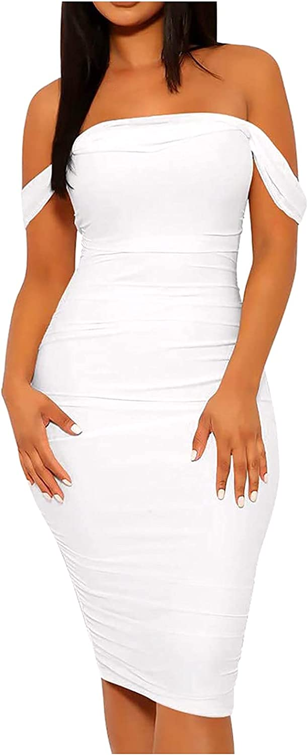 LACACA Women's Summer Sexy Tube Top Off Shoulder Dress Solid Party Club Midi Dress Sexy Dress for Wedding for Women