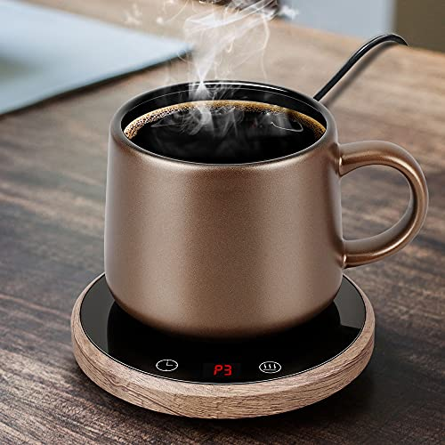 Coffee Mug Warmer with Auto Shut Off for Home Office Desk With three temperature settings for Coffee Milk Tea Cocoa Beverage Wax Candle with Timing setting Shut Off after 1-12 Hours Feature(Wood-No Cup)