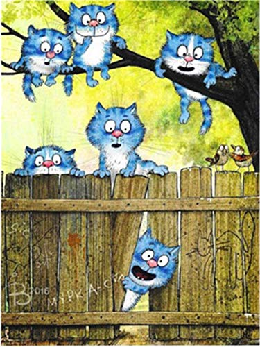 ZaosanKits de Pintura por números sin Marca Blue Cat Group - Lienzo de Pintura al óleo para Bricolaje Adultos, niños y Principiantes Usan Pinceles y Pintura acrílica para Pintura artística - 40x5